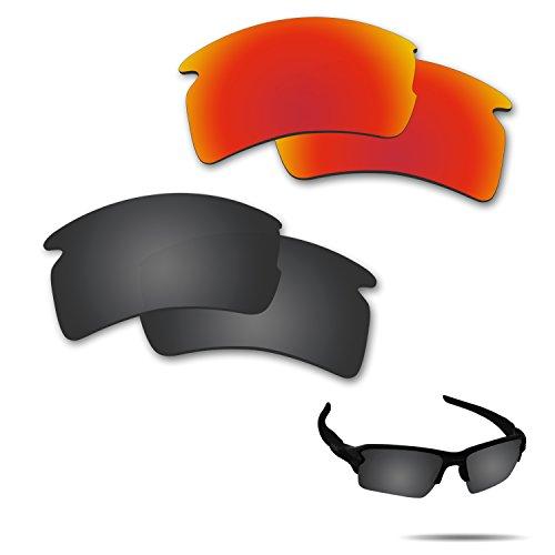 Fiskr Anti-Salzwasser polarisierte Ersatzgläser für Oakley Flak 2.0 XL Sonnenbrille 2 Paar, Herren, Stealth Black & Fire Red, 0 US