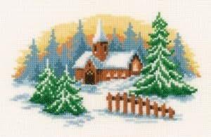 Kit de broderie au point de croix Motif Paysage d'hiver