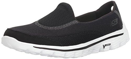 Skechers Damen GO Walk 2 Linear Sneakers, Schwarz (BKW), 40 EU