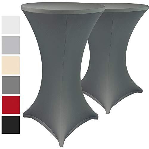 Stehtischhussen Stretch Elastique 2er Set - elastische Premium Stretchhusse für alle gängigen Bistrotische und Stehtische - dehnbarer Tisch-Überzug mit ÖkoTex100, Farbe:Anthrazit, Größe:Ø 80-85 cm