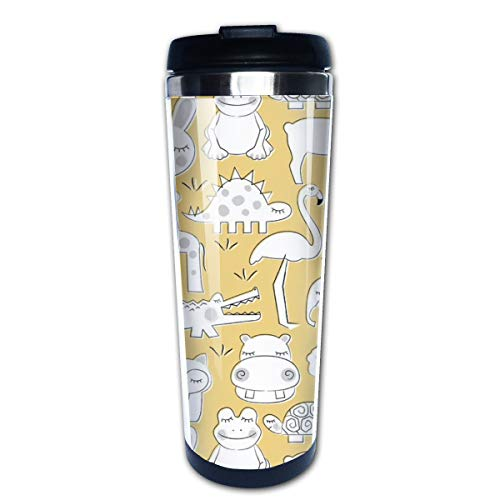 Baby Animals On Soft Yellow Multi Insulated Stainless Steel Travel Mug 14 oz Classic Lowball Tumbler with Flip Lid Nissan Thermos Travel Mug