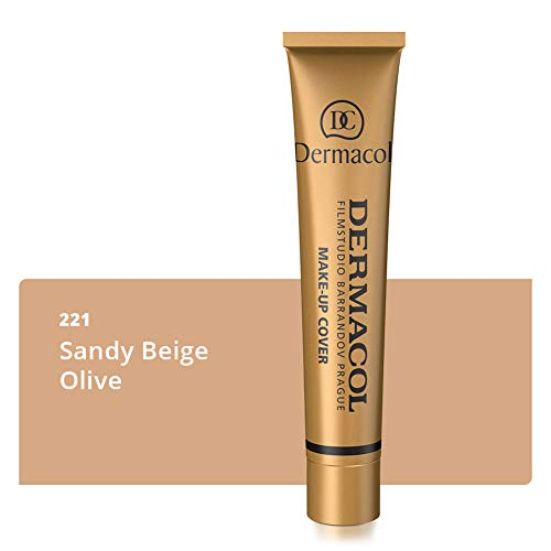 Dermacol Deckendes Make-up Cover für Gesicht und Hals - Wasserfeste Foundation mit LSF 30 für einen makellosen Teint - Stark deckendes helles 221, 30g (Es Cosmetics Foundation Pinsel)