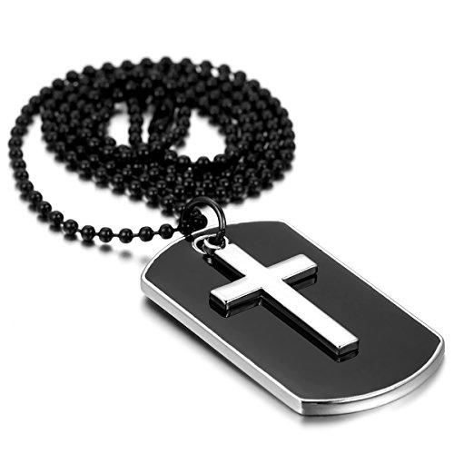 Flongo Legierung Email Emaille Anhänger Halskette Email Emaille Silber Schwarz Kreuz Dog Tag Armee Stil Poliert 27.7 Zoll Kette Herren Emaille-tags