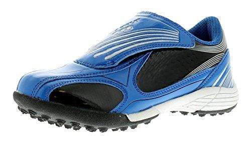 Kinder/Jungen Blau Klettverschluss Astro Turf/Fußballschuhe - Marineblau/Silber - UK GRÖßEN 6-3 - Bunt - Marineblau/ Silber, EU 26 Kind, Netz