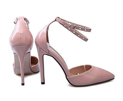 GLTER Cinturino Donne Pumps grande formato dei pattini di piedi femminili Circa Hollow Charme aguzzi Tacchi alti sandali tacco a cono da tennis scarpe da donna pompe albicocca nera apricot