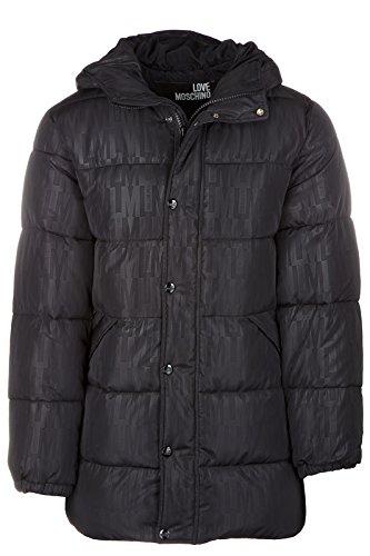 Love Moschino piumino giubbotto giubbino con cappuccio uomo nero, Black, 48 (UK 38)