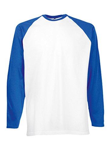 Plain Gildan Cotton Blank Oversized Tshirt T-Shirt Royal Blue/White Men Women Unisex Long Sleeve Baseball T Shirt-XL -