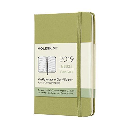 Moleskine 2019 Agenda Settimanale 12 Mesi, con Spazio per Note, Tascabile, Copertina Rigida, Verde Lichene, A6
