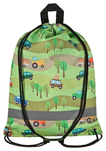 Aminata Kids - Kinder-Turnbeutel Junge-n BAU-Fahrzeuge Betonmischer Bagger Auto-s Sport-Tasche-n Gym-Bag Sport-Beutel-Tasche Junge-n mit BAU-Fahrzeuge