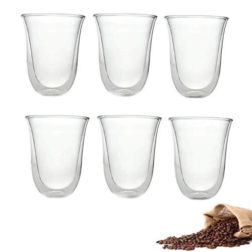 Lot de 6 tasses à latte transparentes en verre borosilicate transparent pour thé, café, latte, cappuccino, expresso, bière, résistant à la chaleur
