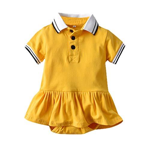SUNFANY Baby Jungen Bekleidung Set Festliche Kleidung Kleinkind Herren Anzüge Kurzarm Schwester Einfarbiger Druck Kurzarm Shorts Strampler (Gelb,100/18-24 Monate)