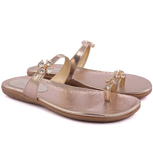Unze Neue Frauen Damen AFIRMATIVO Open Toe Evening Party Gelegenheit Flache Hausschuhe Schuh UK Größe 3-8 - 2264 Gold