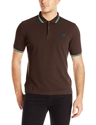 FRED PERRY M3600-940, Polo Uomo, Multicolore (Chocalate / Mustard / Clear Blue), L