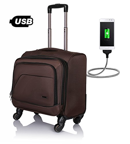 Suntop Tech-Wheelie USB Laptop Bag with 360 Degree Rotating 4 wheels Spinner Trolley
