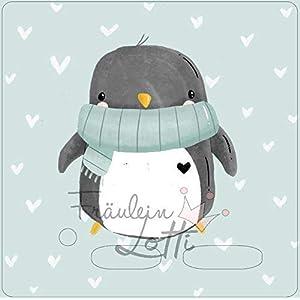 Aufkleber/Schutzfolie/Folie, Toniebox Zubehör, Design von Paul und Clara, Motivfolie mit Pinguin mit Herzchen-Hintergrund, inkl. transparenter Schutzfolie