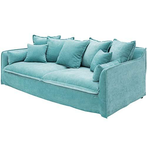 Invicta Interior Großes 3er Sofa Heaven 210cm Aqua Samt Abnehmbarer Bezug Hussensofa 3-Sitzer Couch