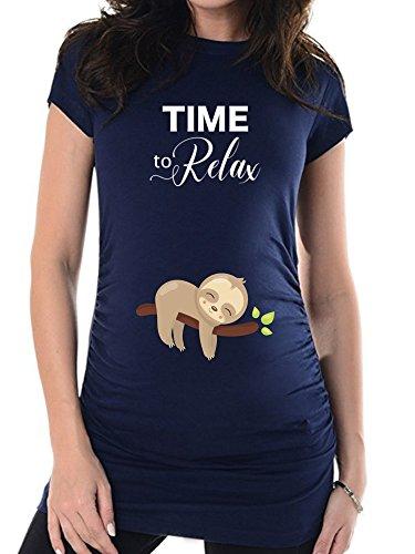 bellytime Navy Time to Relax, 42, Umstands T-Shirt/Schwangerschafts T-Shirt, Bedrucktes Shirt für die Werdende Mutter, Tolles Geschenk, Witzig, liebevoll