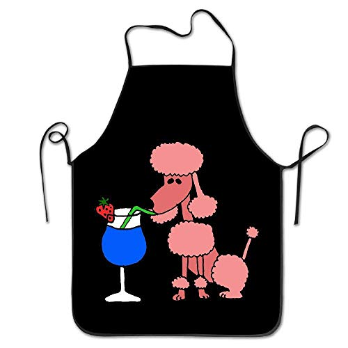 But why miss Unisex Cool Funny Pink Poodle Dog Drinking Kitchen Aprons Pink Miss Zebra