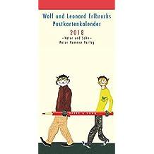 Wolf und Leonard Erlbruchs Postkartenkalender 2018: Vater und Sohn