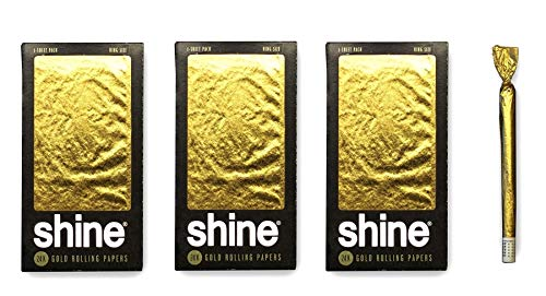 Lifestyle-Ambiente 3 Stück Shine 24K Gold Rolling Papers - King Size 1-Sheet Pack - Hochwertiges goldenes Blättchen (24 Gold Rolling Papers)