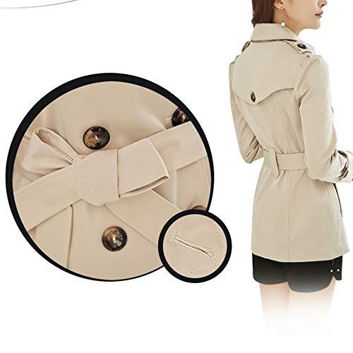 Classic Pink Damen kurz Trenchcoat Zweireihig Slim Revers Mantel Beige XS - 4