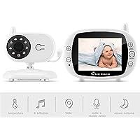 """Baby Monitor Camera, BOIFUN 3.5""""LCD Audio Digitale per Bambini, Trasmettitore Wireless 2,4 GHz fino a 100 m, Audio Bidirezionale, Visione Notturna, Monitoraggio della Temperatura, Cradlesong"""