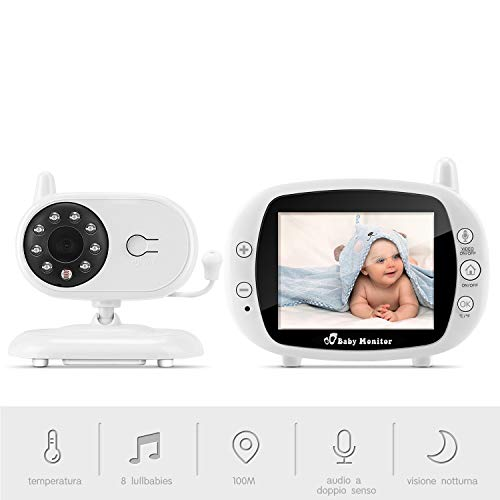 "Baby Monitor Camera, BOIFUN 3.5""LCD Audio Digitale per Bambini, Trasmettitore Wireless 2,4 GHz fino a 100 m, Audio Bidirezionale, Visione Notturna, Monitoraggio della Temperatura, Cradlesong"