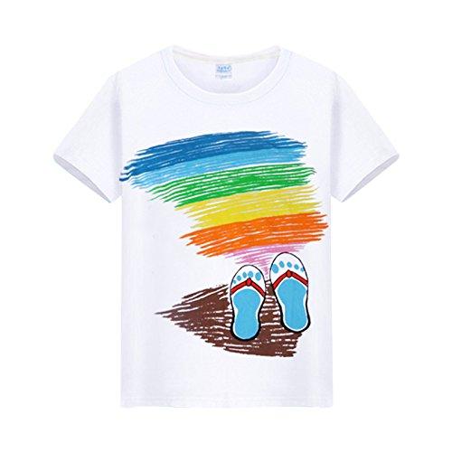 HAN-NING Mann beach T-Shirt Short Sleeve Sommer reine Baumwolle lose runder Kragen T-Shirt 2XL, Footprint (Footprints Design T-shirt)