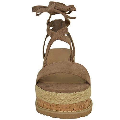 Femmes Paltes Liège Sandales Espadrille Semelle Compense Cheville Chaussures À Lacets Taille Faux suède moka/brides