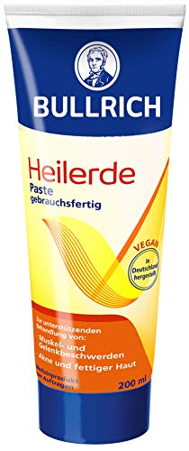 Bullrich Heilerde Paste, gebrauchsfertig, unterstützende Hilfe bei Akne und fettiger Haut, Muskel und Gelenkbeschwerden, Cellulite, 1er Pack (1 x 200 g) - Muskel Verstauchungen Behandlung