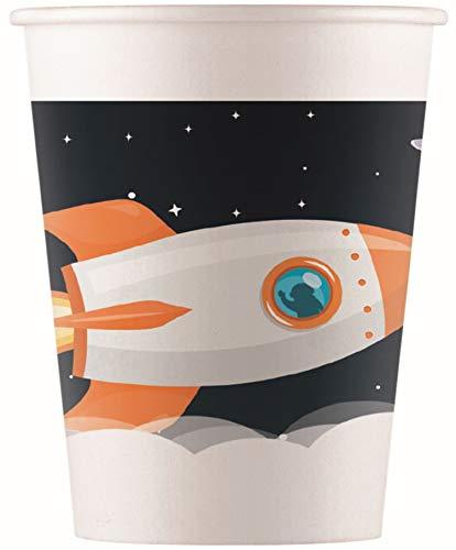 Procos 90621 Partybecher Weltraum aus Pappe, 8 Stück, schwarz, weiß