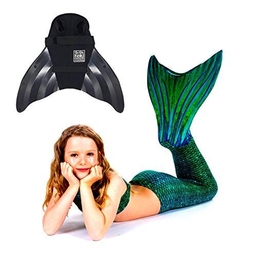 SUN TAILS Set Meerjungfrauen Kostüm Sirene Green Meerjungfrau Schwimmflossen Monofin Kinder Jugendliche Erwachsene XL schwarz