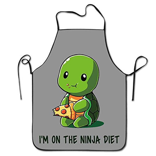 (Dhrenvn Turtle on A Ninja Diet Kitchen Aprons for Women Men)