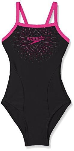 Rosa Logo Mädchen (Speedo Mädchen Badeanzug 'Gala Logo Thinstrap Muscleback Badeanzug, schwarz / rosa, 116)