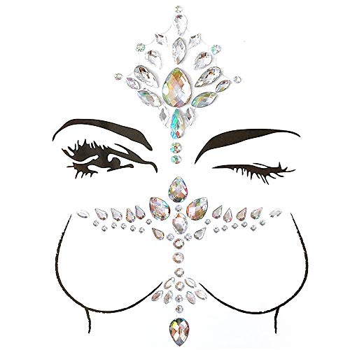 GEMSeven 1 Satz 3D Gesicht Brust Glitter Strass Acryl Tattoo Adhesive Brust Auge Aufkleber Schmuck Körper Temporäre Tattoo Make-Up-Tool Multicolor