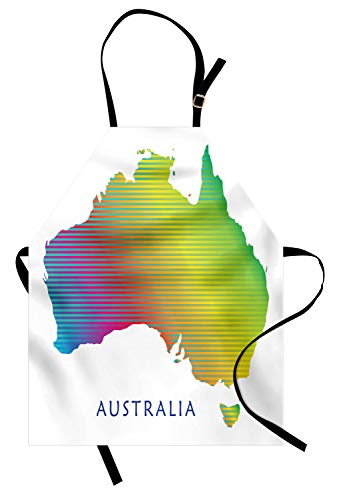 (ABAKUHAUS Australische Partei Kochschürze, Kontinentales Australien mit Regenbogen-Streifen-festlicher Art-Karten-Illustration, Farbfest Höhenverstellbar Waschbar Klarer Digitaldruck, Mehrfarbig)