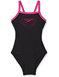 Speedo Mädchen Badeanzug 'Gala Logo Thinstrap Muscleback Badeanzug, Mädchen, 8-11343B344, schwarz/rosa