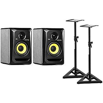 "KRK ROKIT RP4 G3 aktiver Studio Monitor Paar SET inkl. 2 Stative (Nahfeld Monitor, Lautsprecher Box, 2-Wege Bassreflex, 4"" Aramid-Glas Woofer, 1"" Soft Dome Tweeter, 30 Watt) schwarz"
