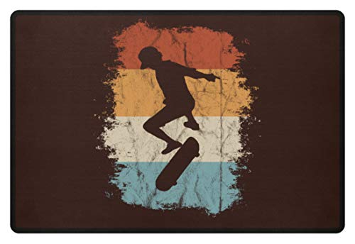 Retro Vintage Skater - Skateboard Kickflip Ollie für Oldschool Skate-Fans und Tricker - Fußmatte -60x40cm-Braun (Skateboard-ollie)