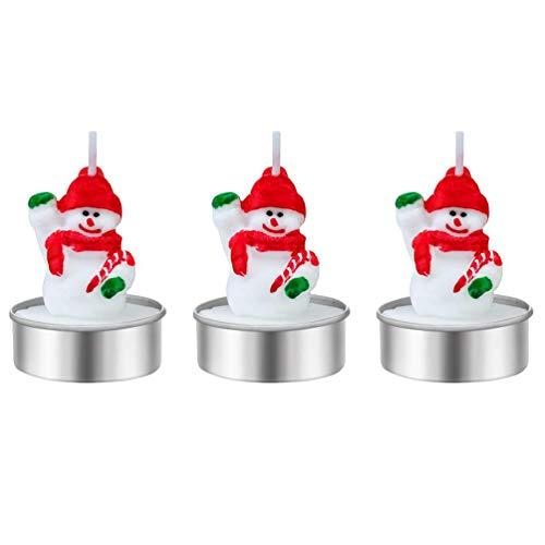 3 Piezas Velas navideñas Vela sin Humo Velas Ligeras de té para Navidad Boda Celebración Festiva Decoración (A1, 1.97 x 1.57 Inch/ 5 x 4 cm)