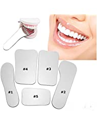 5Pcs Dental Orthodontic Dental Mirror Intra Oral Mouth Mirror Glass Reflector Mouth Mirror Rhodium Plated Glass Intraoral Autoclavable