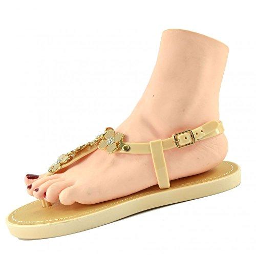 Kick Footwear - DAMEN FLACH GLADIATOR SOMMER STRAND FLIP-FLOP-URLAUB SANDALEN SCHUHE NUDE JELLY