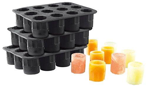 infactory Eisgläser: Silikon-Formen 3er-Set für 36 Schnapsgläser 2 cl aus Eis (Eis-Glas-Form) (Trinken-mix, Schokolade)
