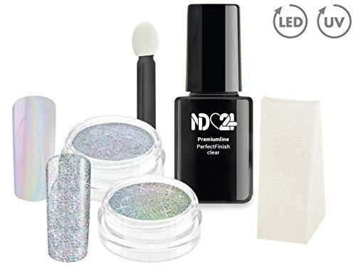 XXL SPAR SET NailArt UNICORN + GALAXY Pigmente Puder + UV NAGELGEL Black & White + PERFECT FINISH...