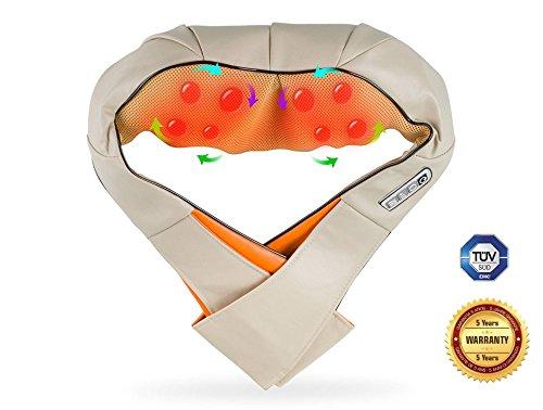 Masajeador electrico lumbar, cervical, Espalda, Cuello y piernas Boston Tech con calor infrarrojo. Masaje Shiatsu para la Casa, oficina o coche. Garantia de cinco años