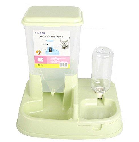 Automatischer Futterspender für Tiere Tier Hund Katze Trinken-Wasser Stromversorgung Tränke Flasche Grün Wasser 400ml Nahrung 1.5kg -