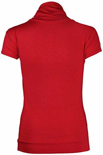 Neu Damen Rollkragen Polokragen T-Shirt Oberteile Damen Kurzarm Stretch Enganliegend Geraffte Rüschen-Top Rot