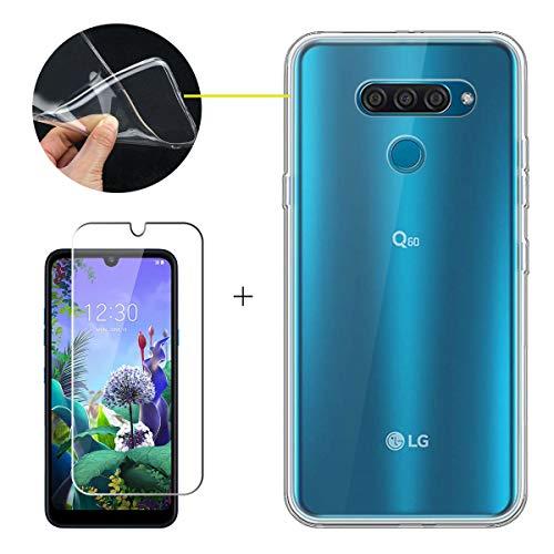 LJSM Hülle für LG Q60 + Panzerglas Bildschirmschutzfolie Schutzfolie - Transparent Weich Silikon Schutzhülle Crystal Flexibel TPU Tasche Case für LG Q60 (6.26