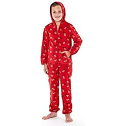 Pijama impreso de Selena Girl, de suave forro polar con cremallera Reindeer - Red Talla-7-8 Años Antiguo