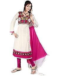 Jheenu Women's Cream Cotton anarkali Embroidered Unstitched Dress Material